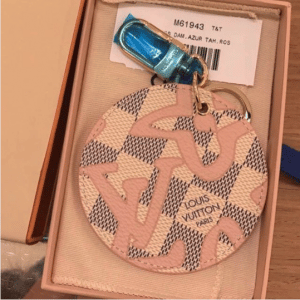Louis Vuitton Rose Ballerine Damier Azur Tahitienne Illustre Bag Charm and Key Holder