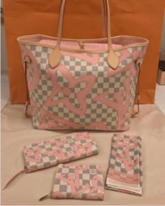 Louis Vuitton Rose Ballerine Damier Azur Tahitienne Neverfull MM Bag and Small Leather Goods