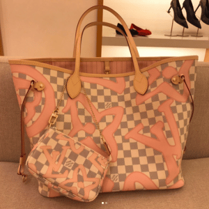 Louis Vuitton Rose Ballerine Damier Azur Tahitienne Neverfull MM and Mini Pochette Bags