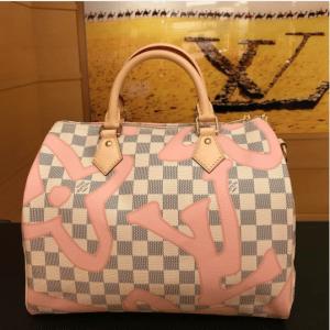 Louis Vuitton Rose Ballerine Damier Azur Tahitienne Speedy Bandouliere 30 Bag