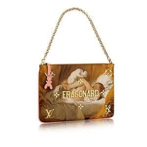 Louis Vuitton Rose Ballerine Girl With Dog Clutch Bag