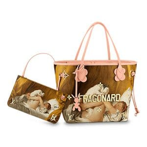 Louis Vuitton Rose Ballerine Girl With Dog Neverfull MM Bag
