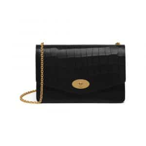 Mulberry Black Deep Embossed Croc Print Darley Bag