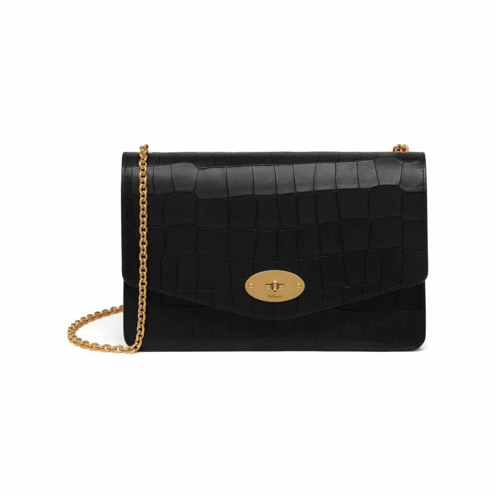... discount code for mulberry black deep embossed croc print darley bag  6900f e23b9 08a9ab85de9a2
