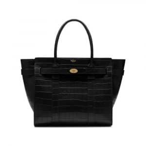 Mulberry Black Deep Embossed Croc Print Zipped Bayswater Bag