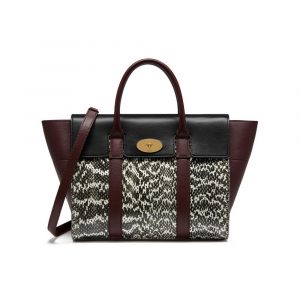 Mulberry Black/Oxblood Snakeskin/Smooth Calf Bayswater with Strap Bag
