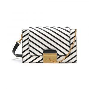 Mulberry Black/White Stripe Patchwork Pembroke Bag