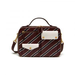 Mulberry Burgundy/White/Midnight Stripe Patchwork Cherwell Square Bag