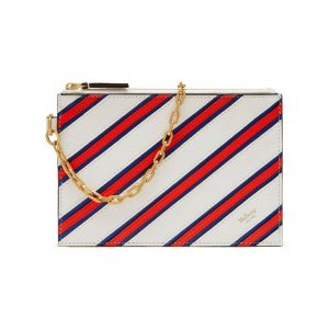 Mulberry Chalk/Royal Blue/Coral Red Stripe Patchwork Cherwell Pouch Bag
