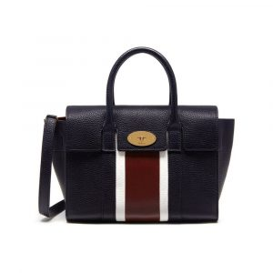 Mulberry Midnight/White/Burgundy Stripe Patchwork Small New Bayswater Bag