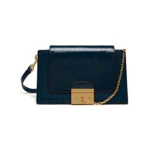 Mulberry Navy Croc Print Pembroke Bag