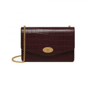 Mulberry Oxblood Deep Embossed Croc Print Darley Bag