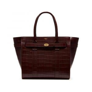 Mulberry Oxblood Deep Embossed Croc Print Zipped Bayswater Bag