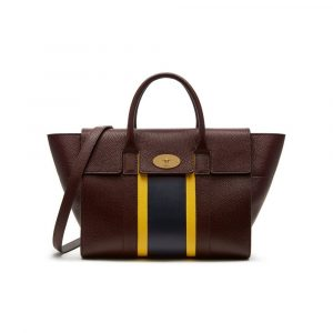 Mulberry Oxblood/Lemon/Midnight Stripe Patchwork Bayswater with Strap Bag
