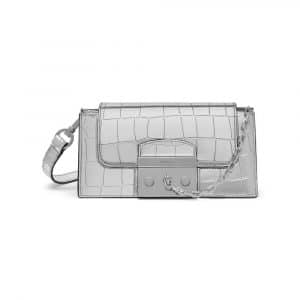 Mulberry Silver Mirror Croc Print Small Pembroke Bag