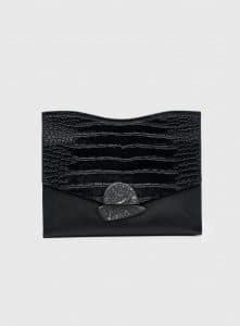 Proenza Schouler Black Leather/Embossed Crocodile Medium Curl Clutch Bag