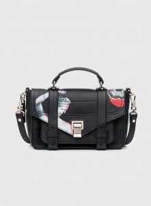 Proenza Schouler Black Printed PS1+ Tiny Bag