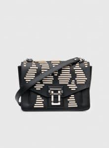 Proenza Schouler Black/White Whipstitch Medium Hava Shoulder Bag