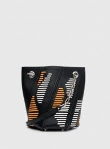 Proenza Schouler Black/White/Sunflower Whipstitch Mini Hex Bucket Bag