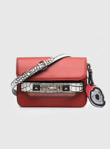 Proenza Schouler Brick/Optic White Leather/Embossed Crocodile PS11 Mini Classic Bag