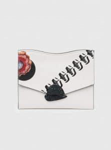 Proenza Schouler Optic White Printed Medium Curl Clutch Bag