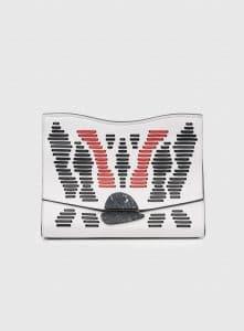 Proenza Schouler Optic White/Black/Red Whipstitch Large Curl Clutch Bag