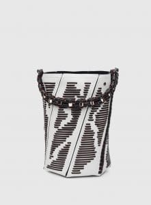 Proenza Schouler Optic White/Black/Red Whipstitch Medium Hex Bucket Bag
