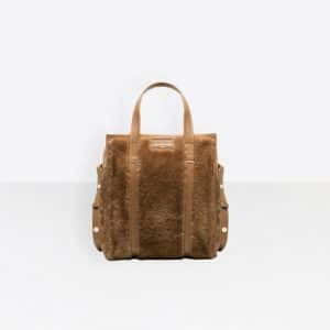 Balenciaga Beige Bazar Shearling Shopper XS Bag