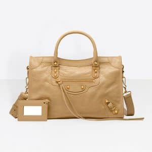 Balenciaga Beige Sable Classic Gold City S Bag