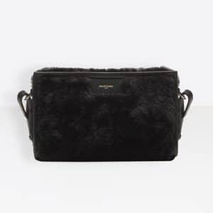 Balenciaga Black Bazar Shearling Strap Clutch Bag