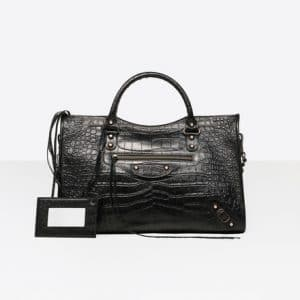 Balenciaga Black Classic Croc-Effect Gold City Bag