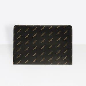 Balenciaga Black/Gold Logo Bazar Pouch Bag