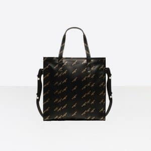 Balenciaga Black/Gold Logo Bazar Shopper S Bag