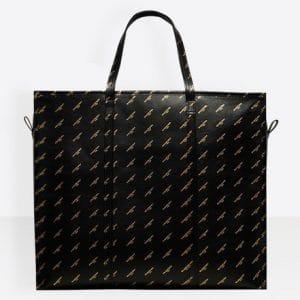 Balenciaga Black/Gold Logo Bazar Shopper XL Bag