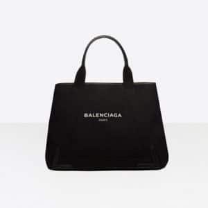 Balenciaga Black/White Denim Navy Cabas M Bag