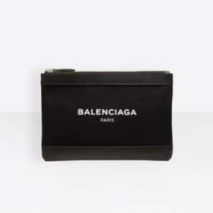 Balenciaga Black/White Denim Navy Clip S Bag