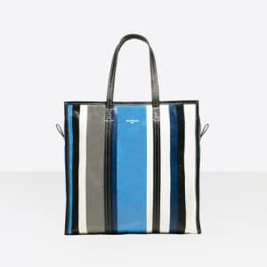 Balenciaga Blue/Grey Stripes Bazar Shopper M Bag