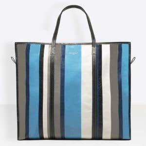 Balenciaga Blue/Grey Stripes Bazar Shopper XL Bag