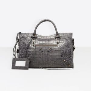 Balenciaga Gris Beton Classic Croc-Effect Gold City Bag