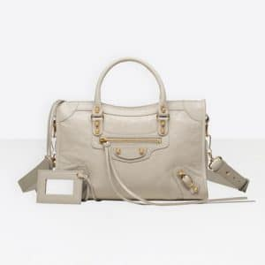 Balenciaga Gris Nuage Classic Gold City S Bag