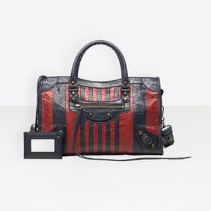 Balenciaga Marine/Bordeaux Stripes Classic City S Bag