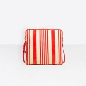 Balenciaga Red/Natural Cushion Square S Bag