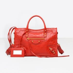 Balenciaga Rouge Groseille Classic Gold City S Bag