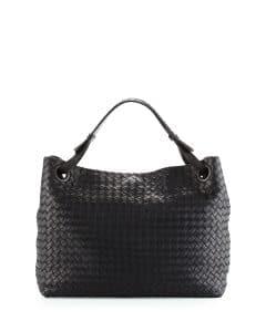 Bottega Veneta Black Intrecciato Medium Shoulder Bag