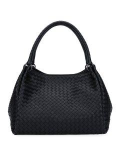 Bottega Veneta Black Intrecciato Parachute Tote Bag