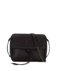Bottega Veneta Black Intrecciato Tie-Front Flap Bag