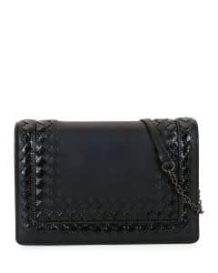 Bottega Veneta Black Leather with Snakeskin Trim Shoulder Bag