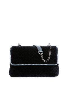 Bottega Veneta Black Velvet Intrecciato Olimpia Bag