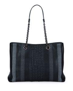 Bottega Veneta Black Woven Double Chain Tote Bag