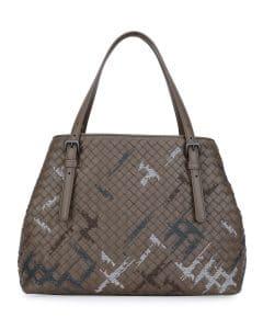 Bottega Veneta Gray Intrecciato Double-Handle Tote Bag